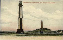 The Old and New Light Houses at Cape Henry