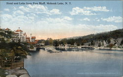 Hotel and Lake from Pine Bluff Postcard