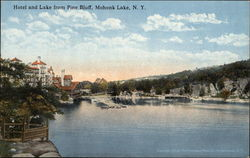Hotel and lake from Pine Bluff, Mohonk Lake, N.Y