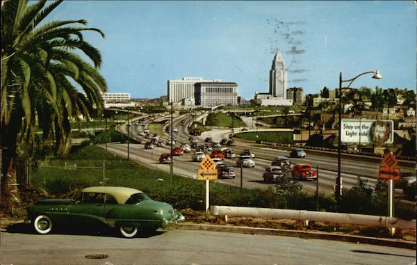 Civic Center from Hollywood Freeway Los Angeles California