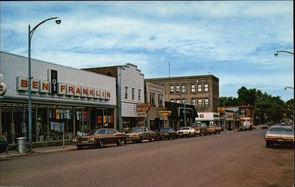 Genesee Street - Downtown Shopping Area Iron River Michigan