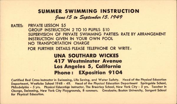 Summer Swimmimg Instruction Los Angeles California