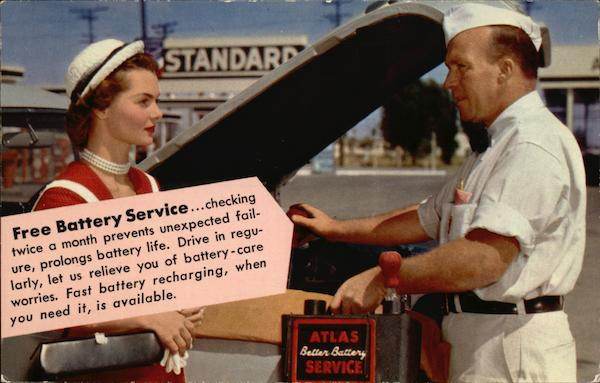 Free Battery Service - Standard Oil Advertising