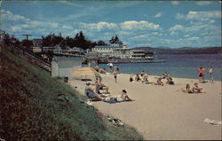 Bathing Beach and M-V Mt. Washington at the Dock Postcard
