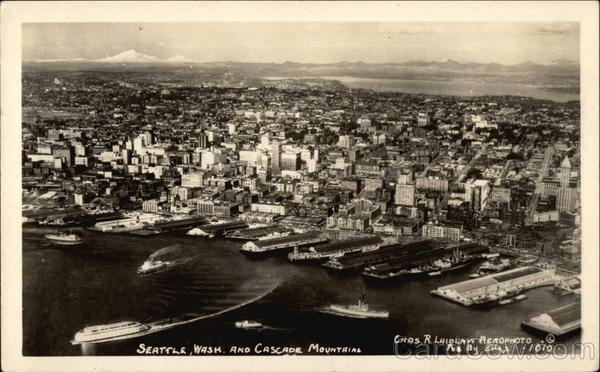 Aerial View of City and Cascade Mountains Seattle Washington