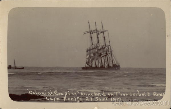 Colonial Empire Wrecked on Thunderbolt Reef Cape Recifa South Africa