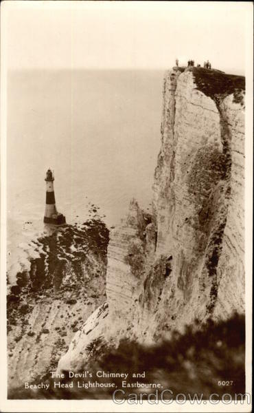 The Devil's Chimney and Beachy Head Lighthouse Eastbourne United Kingdom