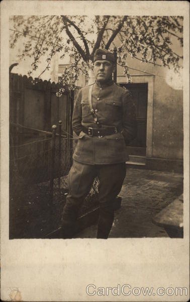 Soldier Posing in Courtyard Military