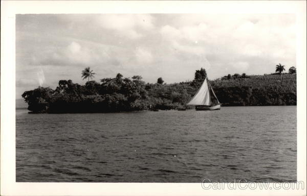 Sailboat along coast Les Cayes Haiti Caribbean Islands