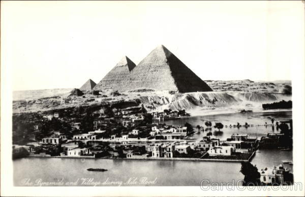 The Pyramids and Village During Nile Flood Egypt Africa