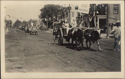 Oxen Drawn Cart With Two Ladies in Main Street Parade