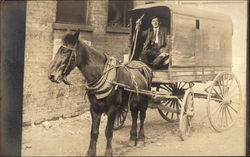 Man in a Delivery Wagon Postcard