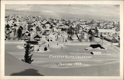 Snowy view of Crested Butte, January 1952