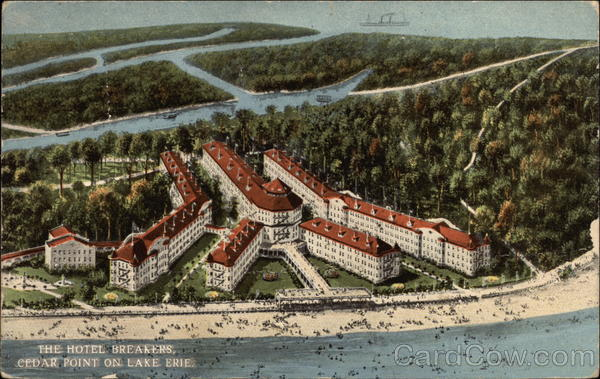 Aerial View of The Hotel Breakers, Lake Erie Cedar Point Ohio