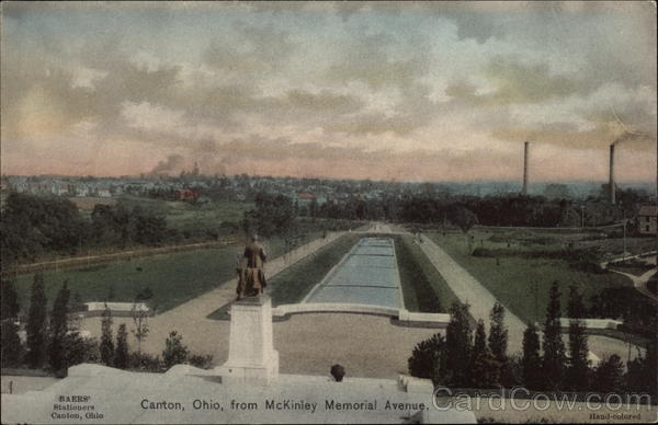 View of Town from McKinley Memorial Avenue Canton Ohio