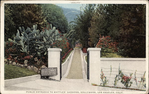 Public Entrance to Wattles' Gardens, Hollywood Los Angeles California