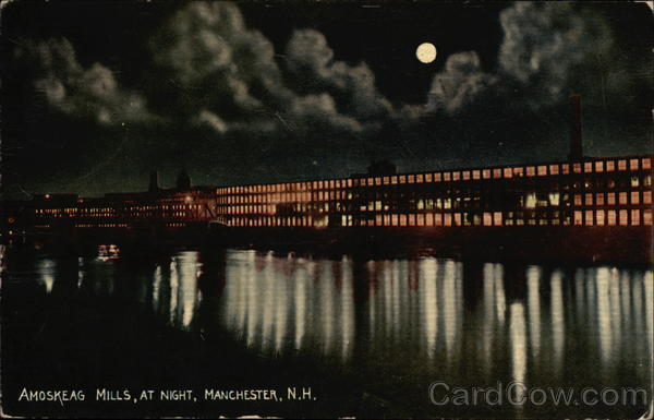 Amoskeag Mills at Night Manchester New Hampshire