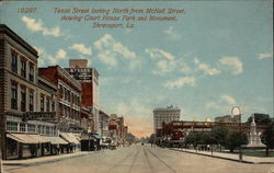 Texas Street looking North from McNeil Street, showing Court House Park and Monument