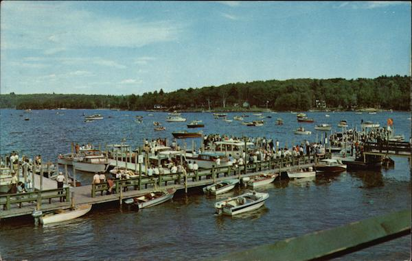 Aerial View of Boats and Dock on Lake Winnipesaukee Wiers Beach New Hampshire