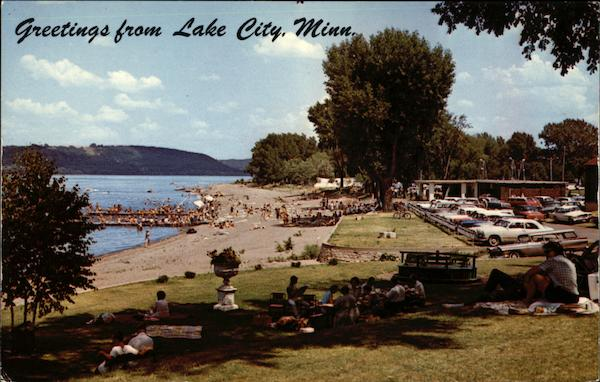 View of Beach area and Lake Pepin Lake City Minnesota