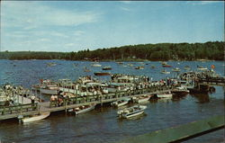 Aerial View of Boats and Dock on Lake Winnipesaukee Postcard