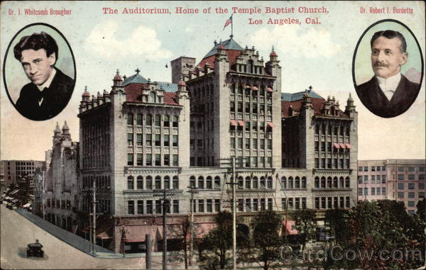 The Auditorium, Home of the Temple Baptist Church Los Angeles California