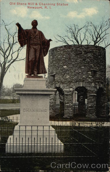 Old Stone Mill & Channing Statue Newport Rhode Island