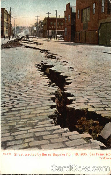 Street cracked by the earthquake, April 18, 1906 San Francisco California