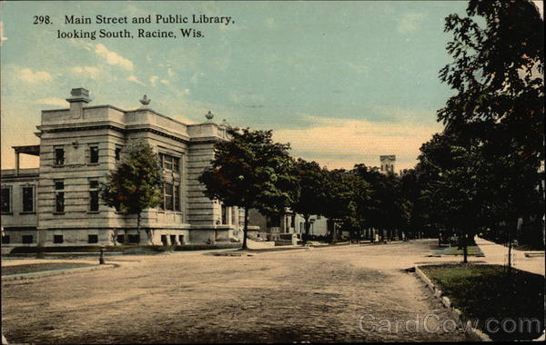 Main Street and Public Library, Looking South Racine Wisconsin
