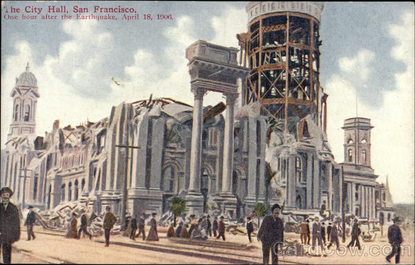 The City Hall, One hour after the Earthquake, April 18, 1906 San Francisco California