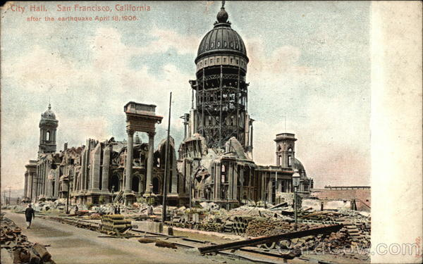City Hall after the earthquake April 18, 1906 San Francisco California