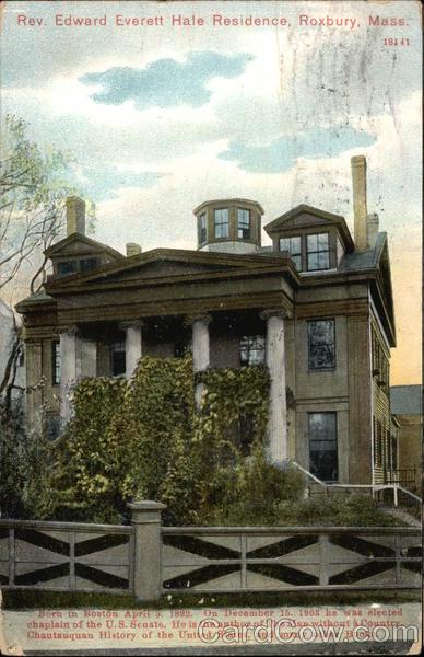 Rev. Edward Everett Hale Residence Vintage Post Card