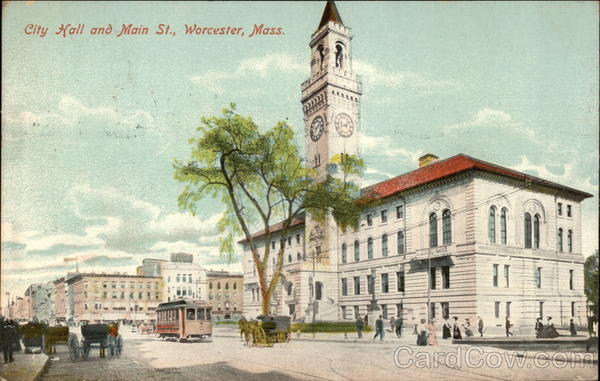 City Hall and Main Street in Worcester, Massachusetts