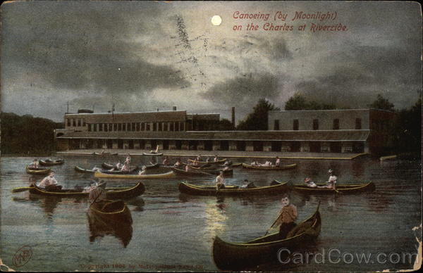Canoeing (by Moonlight) on the Charles at Riverside Massachusetts