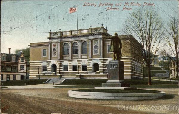 Library Building and McKinley Statue Adams Massachusetts