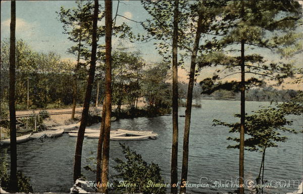 Glimpse of Hampton Pond from Peavott Park Holyoke Massachusetts