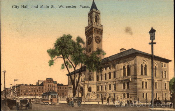 City Hall and Main St Worcester Massachusetts