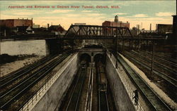 Approach and Entrance to Detroit River Tunnel Postcard