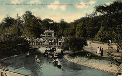 Canoes, Band Stand and Bridge over Canal, Belle Isle Postcard