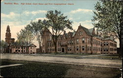 High School, Court House and First Congregational Church