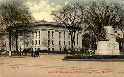 Soldiers' Monument and Public Library Postcard