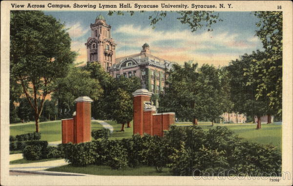 View Across Campus, Showing Lyman Hall, Syracuse University New York