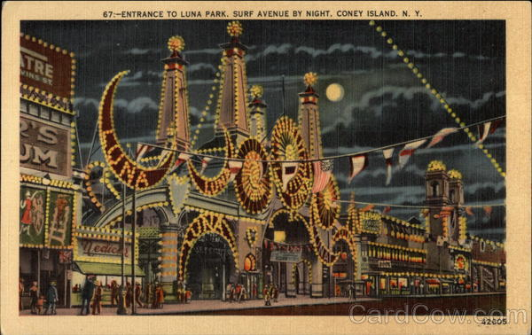 Entrance to Luna Park, Surf Avenue by Night Coney Island New York