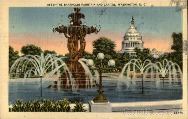 The Bartholdi Fountain and Capitol Washington District of Columbia