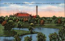 View of Lake and Grounds Around Still-Hildreth Osteopathic Sanatorium Postcard