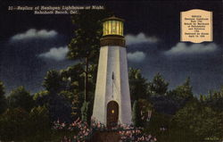 Replica of Henlopen Lighthouse at Night, Rehoboth Beach, Del
