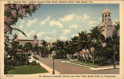 St. Edward's Catholic Church and New Palm Beach Hotel in Foreground Postcard