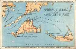 Map of Martha's Vinyard and Nantucket Islands