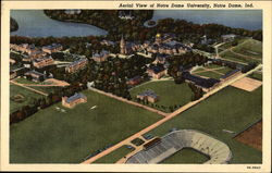 Aerial View of Notre Dame University Postcard