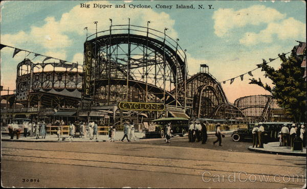 Big Dipper and Cyclone Coney Island New York Amusement Parks